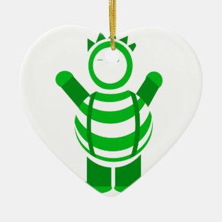 Green man ceramic heart decoration