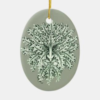 Green Man Ceramic Oval Decoration