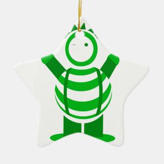 Green man ceramic star decoration