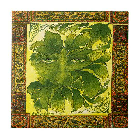 Green Man ceramic wall tile