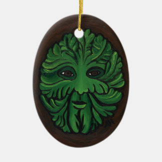 Green Man Double-Sided Oval Ceramic Christmas Ornament