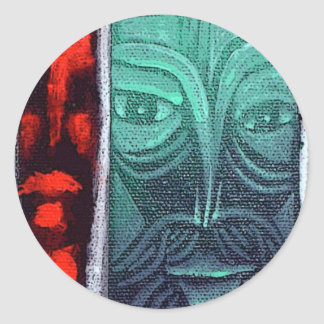 green man feel red round stickers