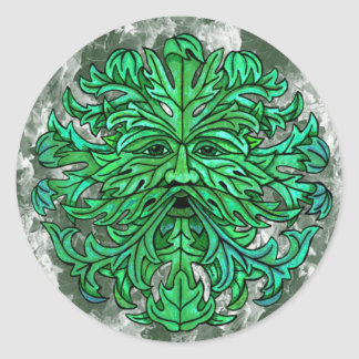 Green Man Gaze Round Sticker