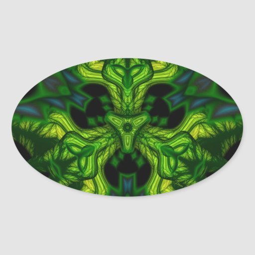 Green Man Goblin – Emerald and Gold Mask Oval Sticker