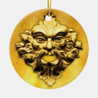 Green Man Gold on Gold Round Ceramic Decoration