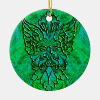 Green Man Happy Yule Ornament