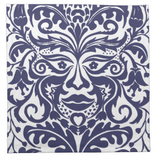 Green Man in Blues and white Napkin