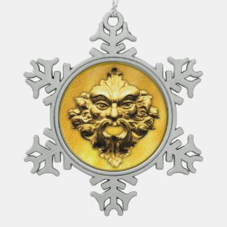 Green Man in Gold - Pewter Snowflake 1 Snowflake Pewter Christmas Ornament