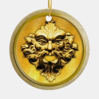 Green Man in Gold with Frame #2 Round Ceramic Decoration