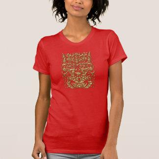 Green Man in liquid gold damask on red satin print T-Shirt