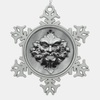 Green Man in Silver - Pewter Snowflake 1 Ornaments