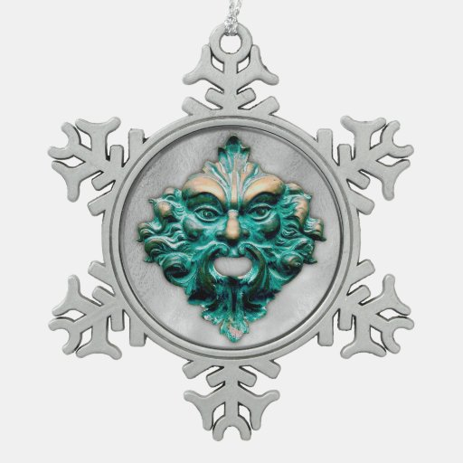 Green Man in Silver - Pewter Snowflake 2 Ornament