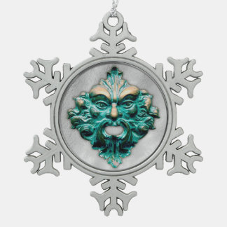 Green Man in Silver - Pewter Snowflake 2 Snowflake Pewter Christmas Ornament