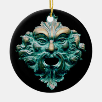 Green Man on Black Round Ceramic Decoration