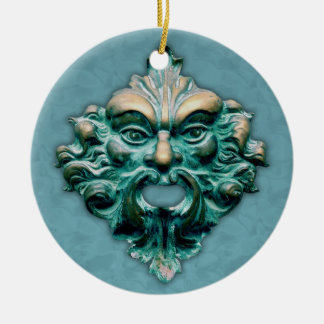 Green Man on Blue with Year Christmas Ornament