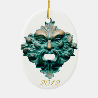Green Man on Oval & 2012-CC0000 Double-Sided Oval Ceramic Christmas Ornament