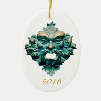 Green Man on Oval & 2016 - Double Sided Ceramic Oval Decoration