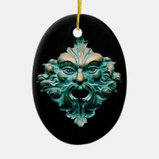 Green Man on Oval, Black & 2015 Ceramic Oval Decoration