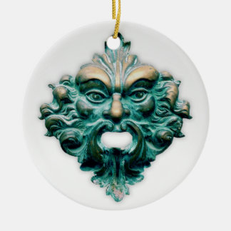 Green Man on White with Year Christmas Ornament