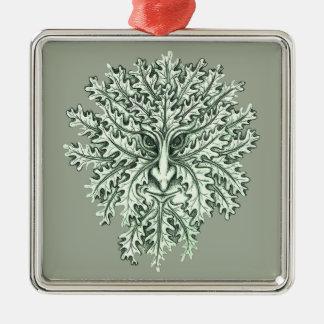 Green Man Silver-Colored Square Decoration