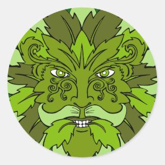 Green Man Round Sticker