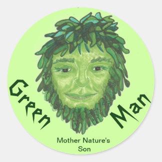 Green Man Stickers Round Sticker