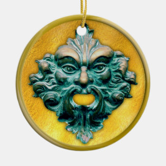 Green Man with Gold Frame Round Ceramic Decoration