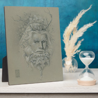 Green Man with Oak Leaf Beard Display Plaque