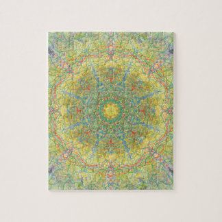 Green Mandala And Kaleidoscope Jigsaw Puzzle