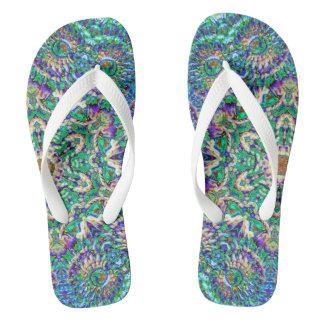 Green Mandala flip flops; style+size options Flip Flops