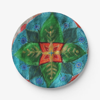 Green Mandala Flower  Custom Paper Plates 7 in 7 Inch Paper Plate
