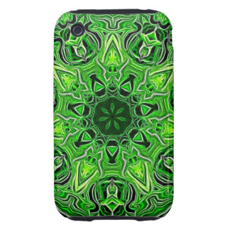 Green Mandala Pattern Tough iPhone 3 Cases