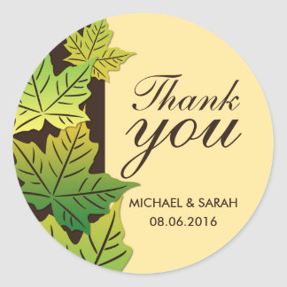 Green Maple Leaf Wedding Favor Thank You Sticker
