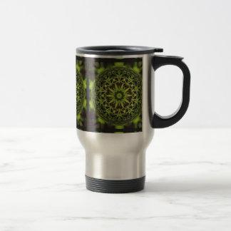Green Marble Fractal Art Travel Mug