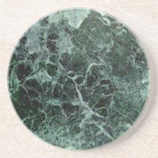 Green marble photo on stone coaster