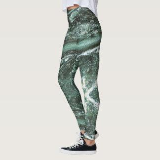 Green Marble Stone Texture Leggings