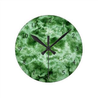 Green Marble Texture Round Clock
