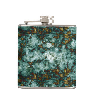 Green Marble Texture With Veins Hip Flask