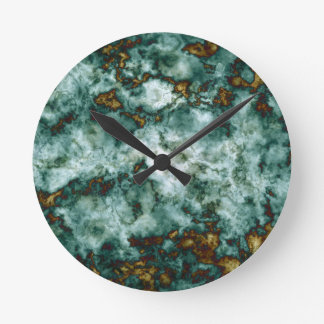 Green Marble Texture With Veins Round Clock