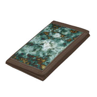 Green Marble Texture With Veins Tri-fold Wallets