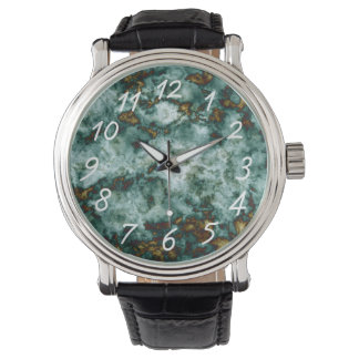Green Marble Texture With Veins Watch