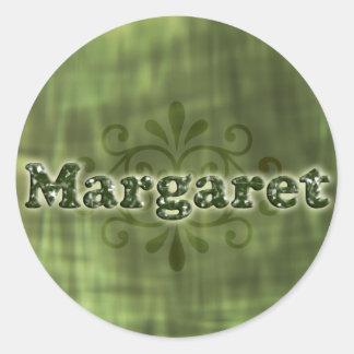 Green Margaret Round Sticker