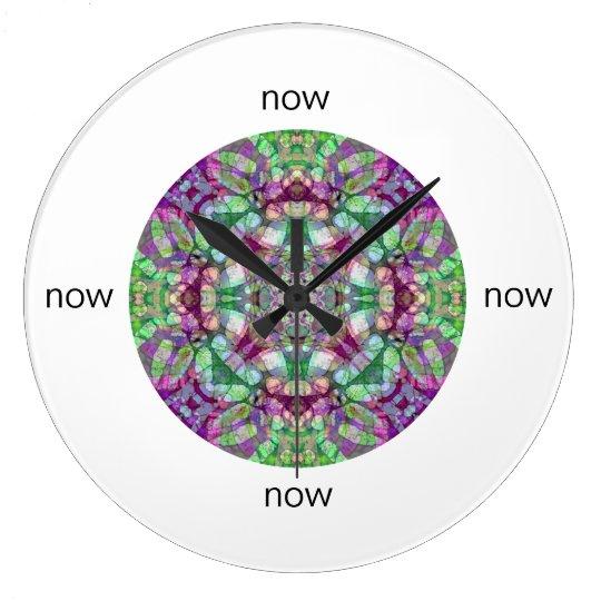 "Green, Maroon, and Purple Mandala ""Now"" Large Clock"