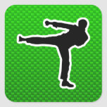 Green Martial Arts Square Stickers