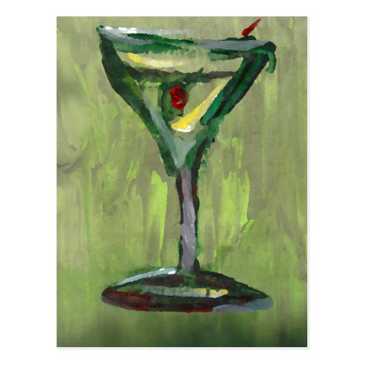 green martini abstract kitchen cocktail bar art postcards