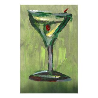 green martini abstract kitchen cocktail bar art custom stationery