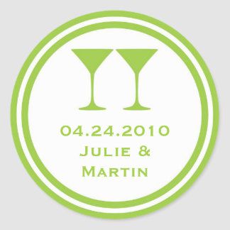 Green martini wedding favor tag seal label round sticker