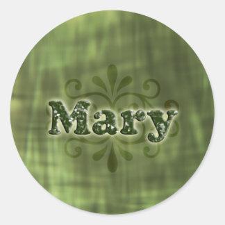 Green Mary Round Sticker