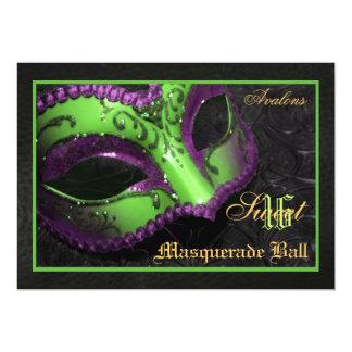 Green Mask Masquerade Sweet 16 Party Invitation