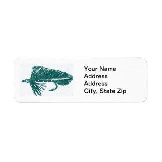 Green Matuka Trout Fly Return Address Label